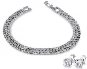 Three Strand Pave Duo Set